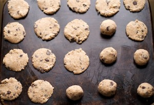 Fruit sweetened gluten-free chocolate chip cookies, pre-baking