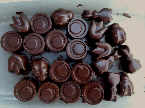 homemade extra-dark easter almond chocolates